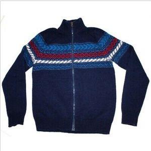 Gap Mock Neck Full Zip Lambswool Blend Sweater